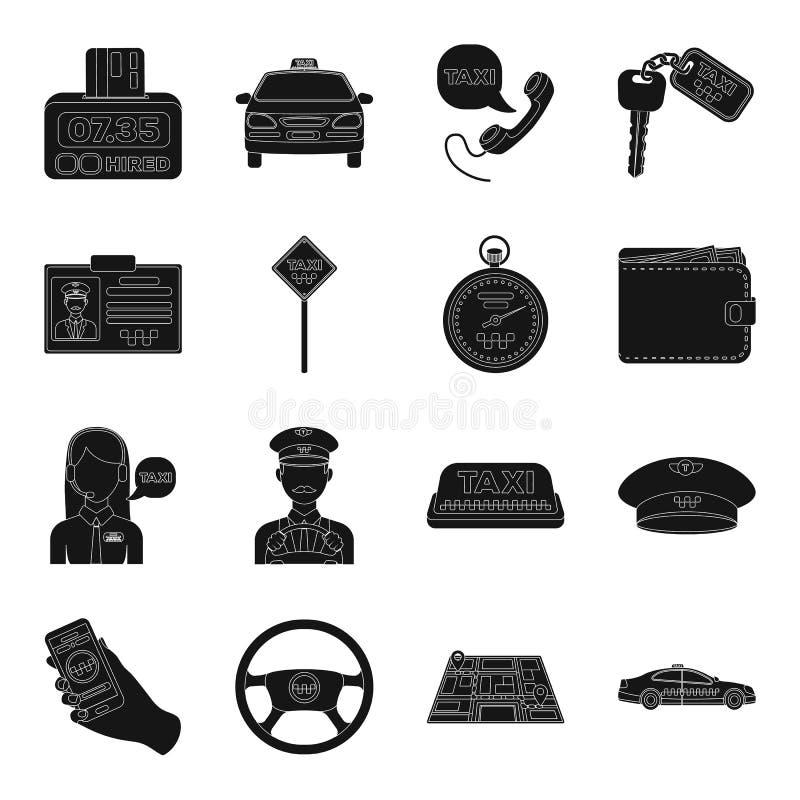Ο χώρος στάθμευσης, αποστολέας, ταξιτζής είναι όλοι για την υπηρεσία ταξί Καθορισμένα εικονίδια συλλογής ταξί στο μαύρο απόθεμα σ διανυσματική απεικόνιση