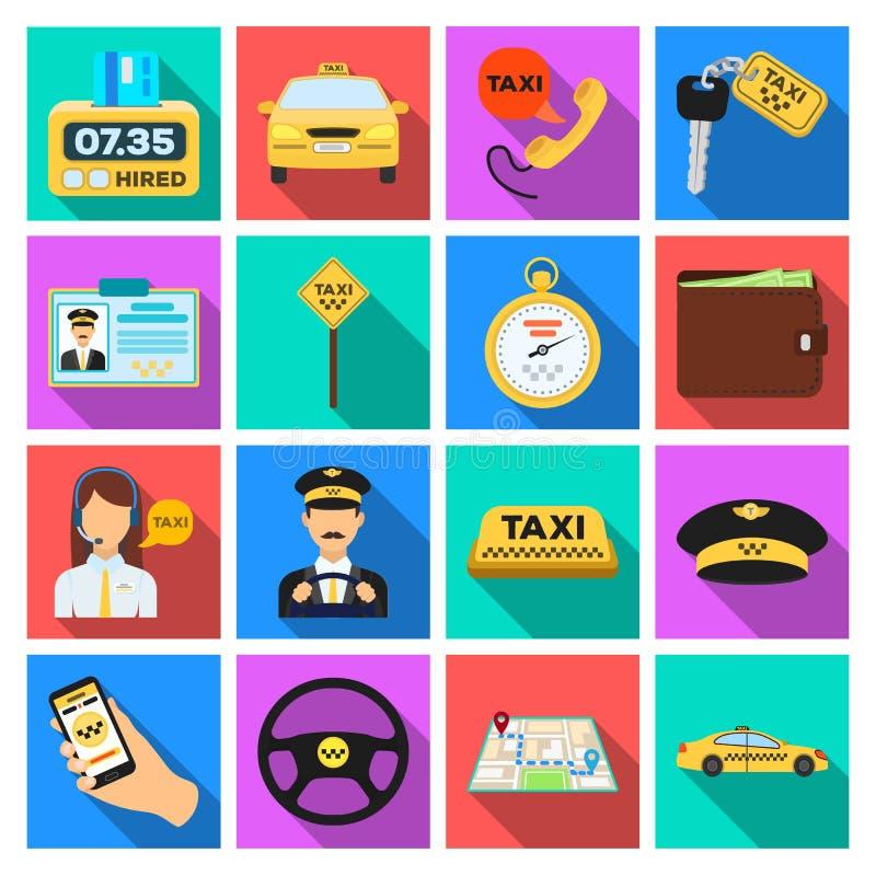 Ο χώρος στάθμευσης, αποστολέας, ταξιτζής είναι όλοι για την υπηρεσία ταξί Καθορισμένα εικονίδια συλλογής ταξί στο επίπεδο απόθεμα διανυσματική απεικόνιση