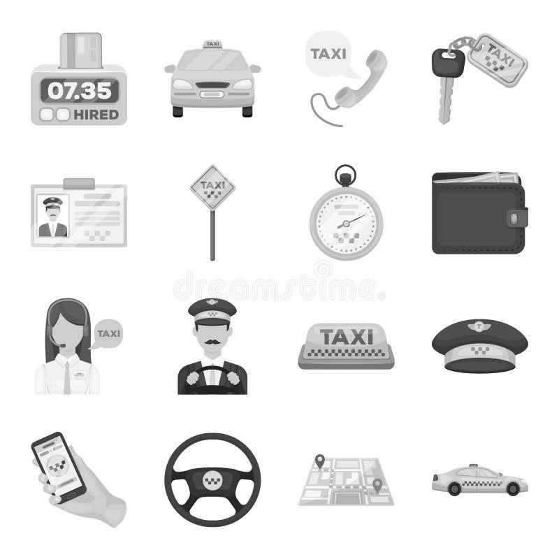 Ο χώρος στάθμευσης, αποστολέας, ταξιτζής είναι όλοι για την υπηρεσία ταξί Καθορισμένα εικονίδια συλλογής ταξί στο μονοχρωματικό δ απεικόνιση αποθεμάτων