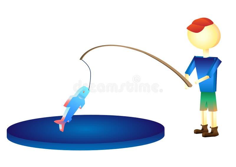 Ο ψαράς επίασε μια απεικόνιση ψαριών στοκ φωτογραφία