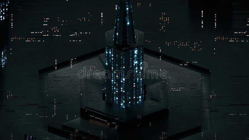 Ο ψηφιακός αφηρημένος πύργος φιαγμένος από κώδικα ΔΕΚΑΕΞΑΔΙΚΟΥ πυράκτωσης τρισδιάστατο δίνει απεικόνιση αποθεμάτων