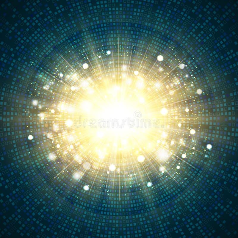 Ο ψηφιακός μπλε τετραγωνικός κύκλος τεχνολογίας του χρυσού ακτινοβολεί κεντρικό υπόβαθρο έκρηξης Απεικόνιση διανυσματικό eps10 απεικόνιση αποθεμάτων