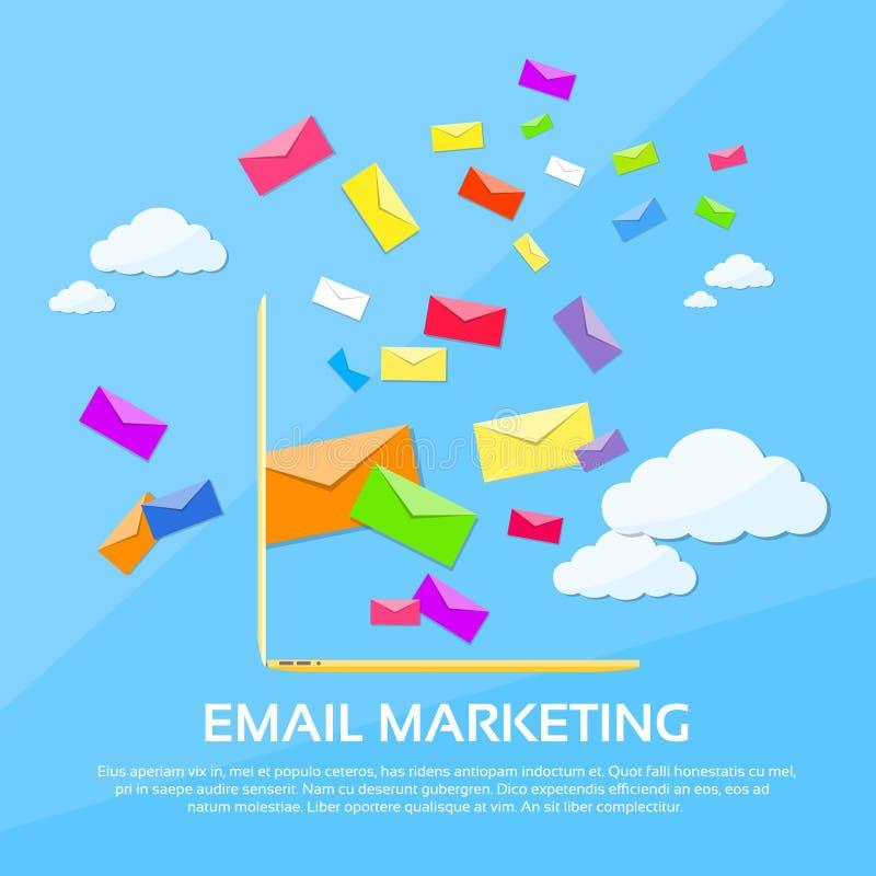 Ο ψηφιακός φάκελος lap-top ηλεκτρονικού ταχυδρομείου μάρκετινγκ στέλνει ελεύθερη απεικόνιση δικαιώματος