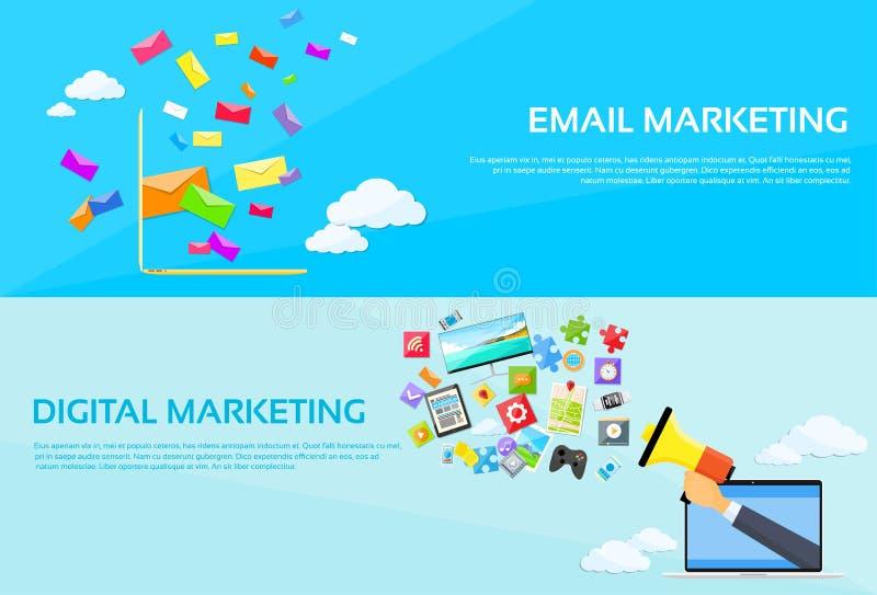 Ο ψηφιακός φάκελος lap-top ηλεκτρονικού ταχυδρομείου μάρκετινγκ στέλνει διανυσματική απεικόνιση