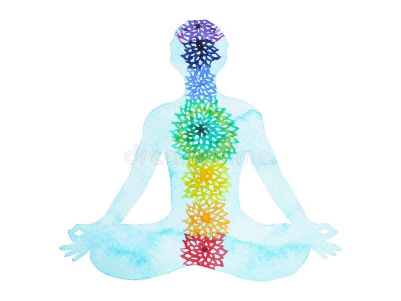 ο λωτός χρώματος chakra 7 θέτει τη γιόγκα, χέρι ζωγραφικής watercolor που σύρεται διανυσματική απεικόνιση