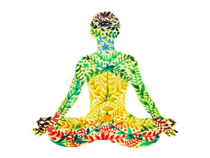ο λωτός χρώματος chakra 7 θέτει τη γιόγκα, floral ζωγραφική watercolor σχεδίων λουλουδιών διανυσματική απεικόνιση
