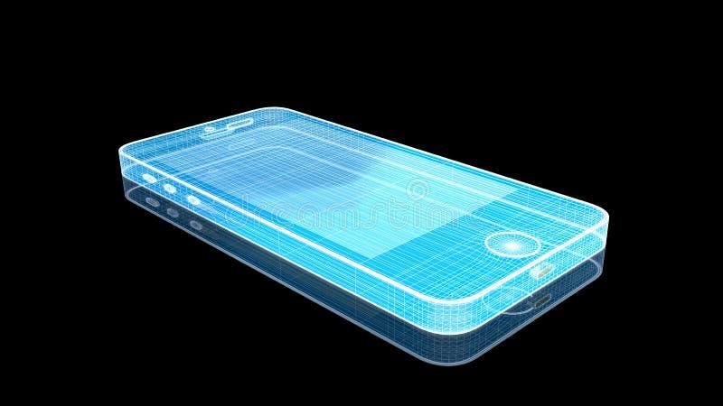 Ολόγραμμα Wireframe Smartphone διανυσματική απεικόνιση
