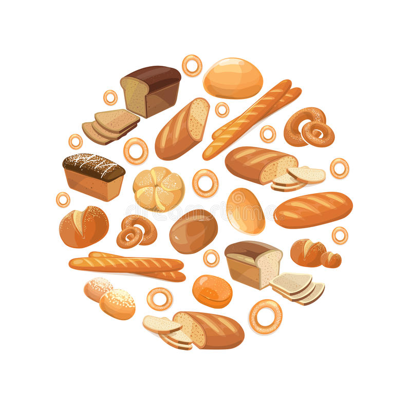 Ολόκληρο bagel σιταριού σίτου σίκαλης ψωμιού τροφίμων τεμάχισε τα γαλλικά croissant διανυσματικά εικονίδια baguette στον κύκλο απεικόνιση αποθεμάτων