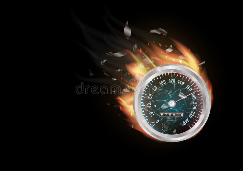 Οδόμετρο με το κάψιμο πυρκαγιάς απεικόνιση αποθεμάτων