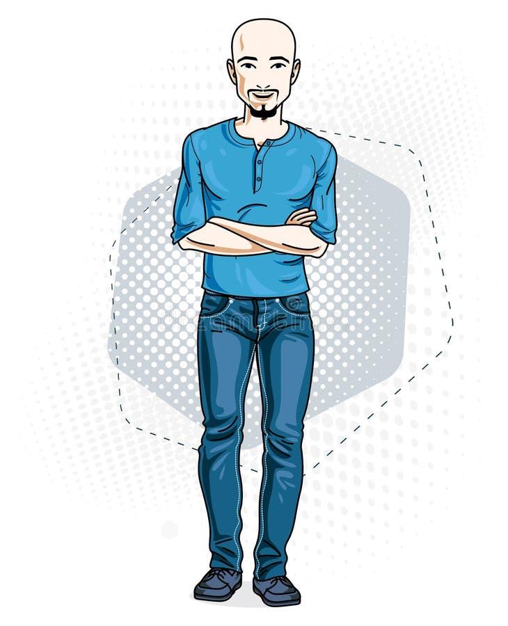 Ο όμορφος άτριχος νεαρός άνδρας θέτει στο σύγχρονο υπόβαθρο Διανυσματική απεικόνιση του αρσενικού με τη γενειάδα και mustaches Θέ ελεύθερη απεικόνιση δικαιώματος