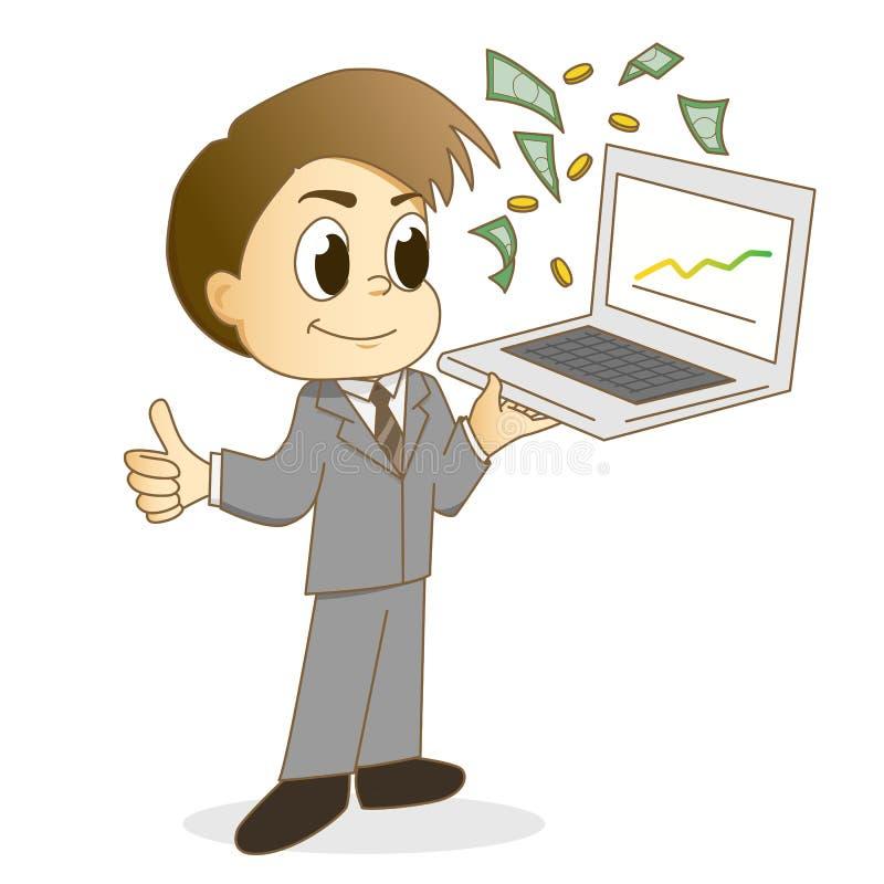 Ο όμορφος επιχειρηματίας που χρησιμοποιεί ένα lap-top για κάνει τα χρήματα διανυσματική απεικόνιση