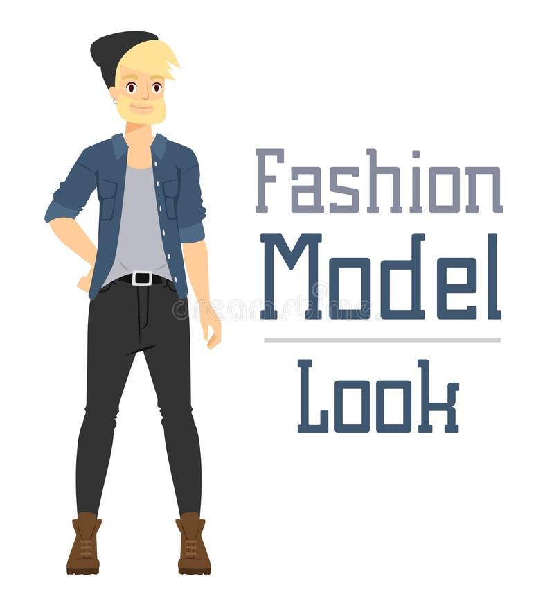 Ο όμορφος διανυσματικός πρότυπος κατασκευαστής αγοριών μόδας κινούμενων σχεδίων φαίνεται στεμένος πέρα από το άσπρο υπόβαθρο διανυσματική απεικόνιση