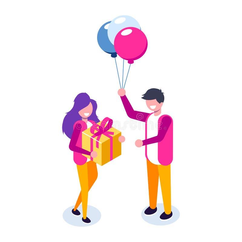 Ο όμορφος φίλος παρουσιάζει ένα δώρο στο όμορφα κορίτσι και το χαμόγελό της Ballon και κιβώτιο δώρων Διάνυσμα isometric ελεύθερη απεικόνιση δικαιώματος