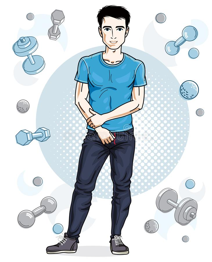 Ο όμορφος brunet νεαρός άνδρας θέτει στο απλό υπόβαθρο με τους αλτήρες και barbells Διανυσματική απεικόνιση του αθλητικού τύπου Ε διανυσματική απεικόνιση