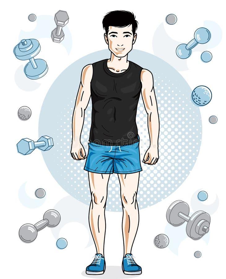 Ο όμορφος brunet νεαρός άνδρας θέτει στο απλό υπόβαθρο με το dumbbe διανυσματική απεικόνιση