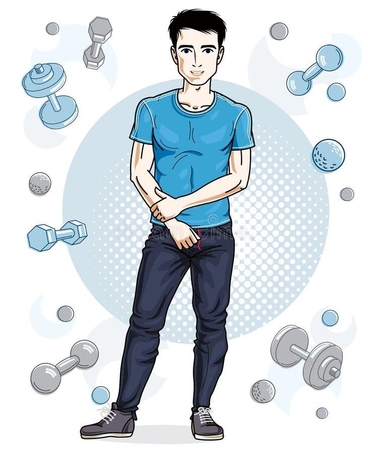 Ο όμορφος brunet νεαρός άνδρας θέτει στο απλό υπόβαθρο με το dumbbe απεικόνιση αποθεμάτων