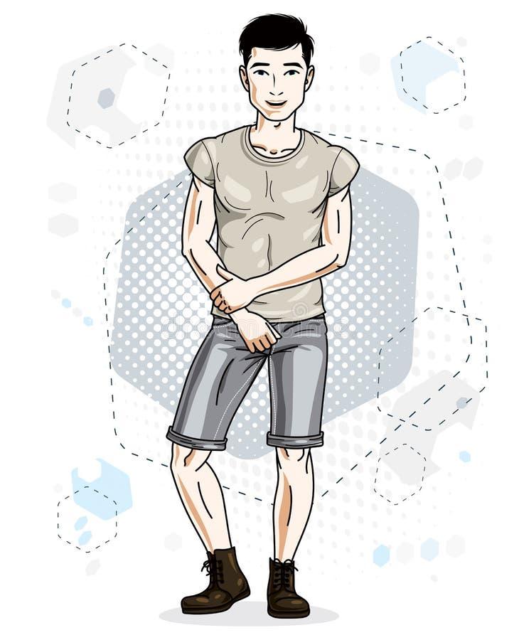 Ο όμορφος brunet νεαρός άνδρας θέτει στο σύγχρονο υπόβαθρο με το hexago απεικόνιση αποθεμάτων