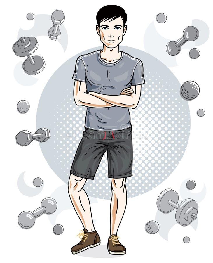 Ο όμορφος brunet νεαρός άνδρας στέκεται απεικόνιση αποθεμάτων