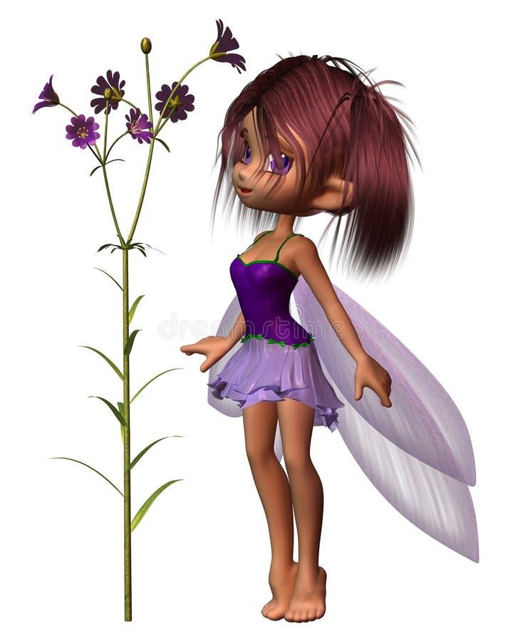 Ο όμορφος Toon Fairy με τα πορφυρά λουλούδια απεικόνιση αποθεμάτων