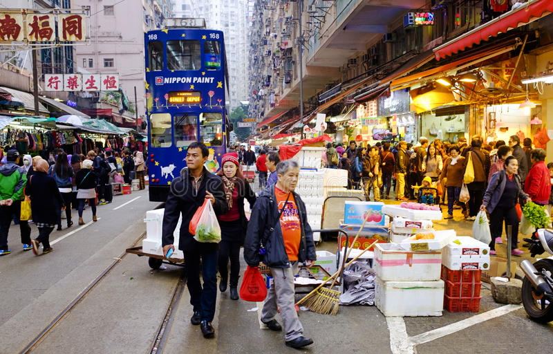 Οδός αγοράς στο Χονγκ Κονγκ στοκ εικόνες