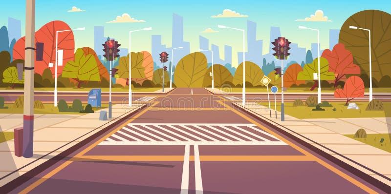 Οδός οδικών κενή πόλεων με τη διάβαση πεζών και τους φωτεινούς σηματοδότες διανυσματική απεικόνιση