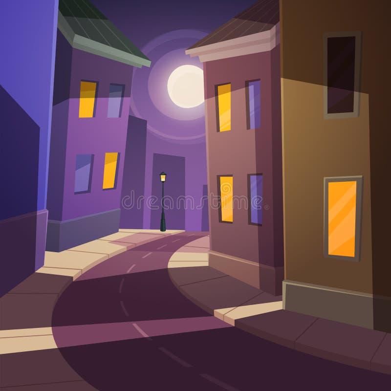 Οδός πόλεων νύχτας διανυσματική απεικόνιση