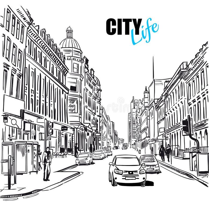 Οδός πόλεων σκίτσων διανυσματική απεικόνιση