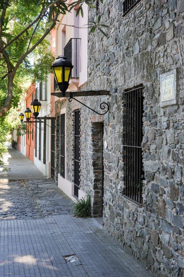 Οδός στην αποικιακή πόλη Colonia del Σακραμέντο στοκ φωτογραφίες με δικαίωμα ελεύθερης χρήσης