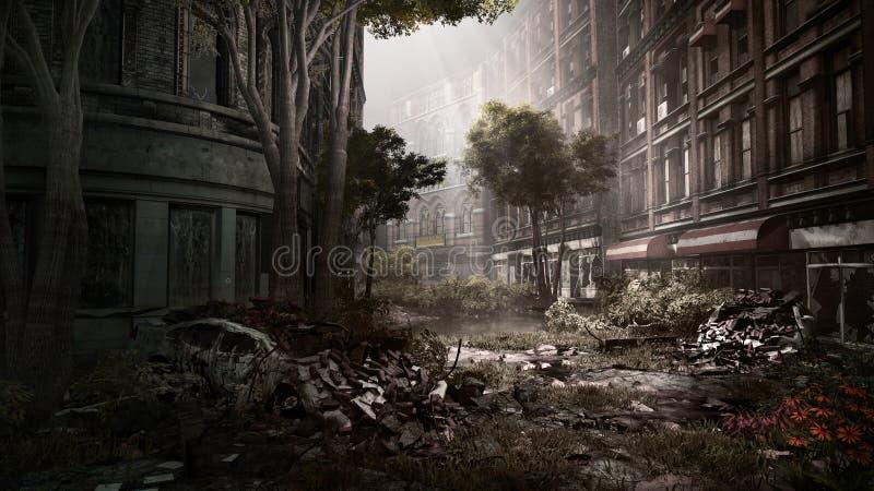Οδός στην εγκαταλειμμένη πόλη ελεύθερη απεικόνιση δικαιώματος