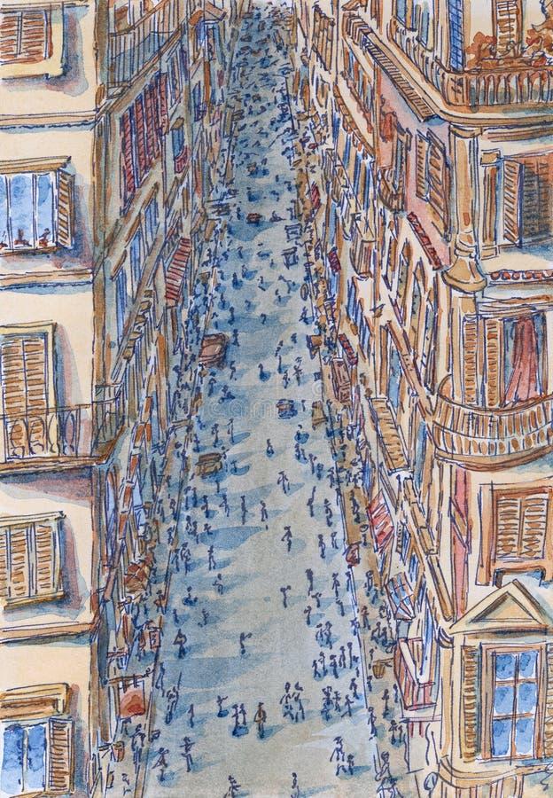 Οδός της Ρώμης στην υψηλή άποψη γωνίας στοκ φωτογραφίες