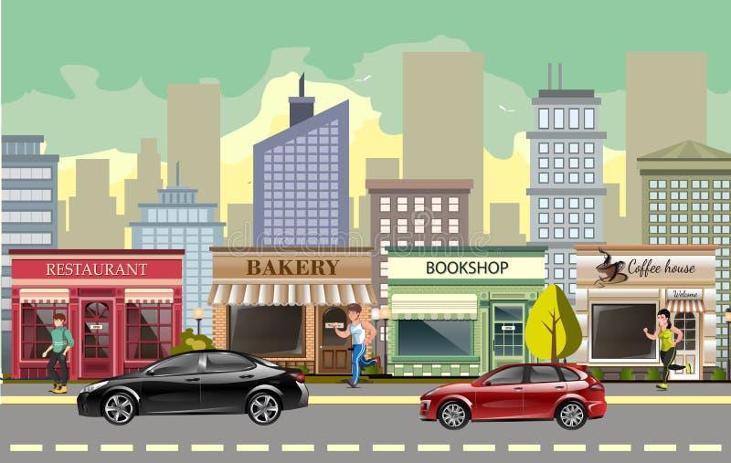 Οδός τοπίων με τα αυτοκίνητα στοκ εικόνα