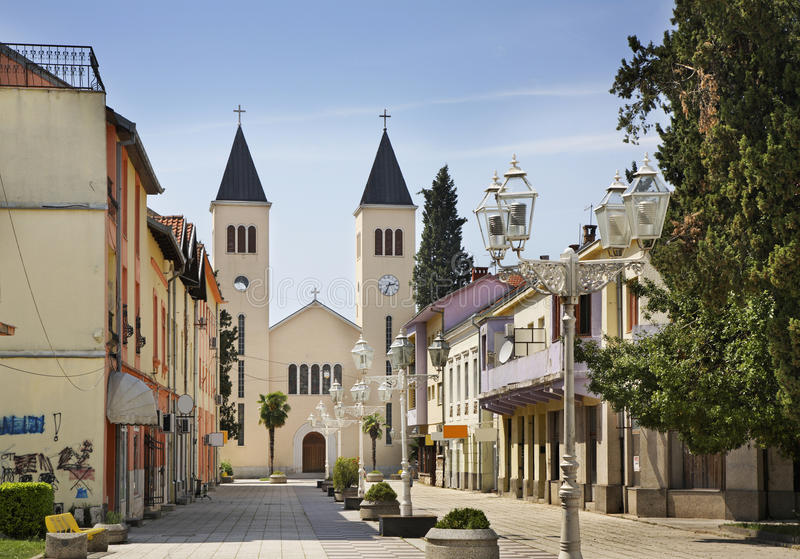 Οδός Gupca Matije σε Caplina η χορήγηση του συνδετήρα της Βοσνίας περιοχών περιοχής που χρωματίστηκε η Ερζεγοβίνη περιλαμβάνει ση στοκ φωτογραφίες με δικαίωμα ελεύθερης χρήσης