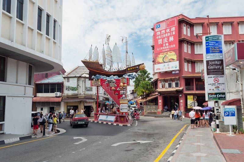 Οδός Jonker Malacca στοκ εικόνα