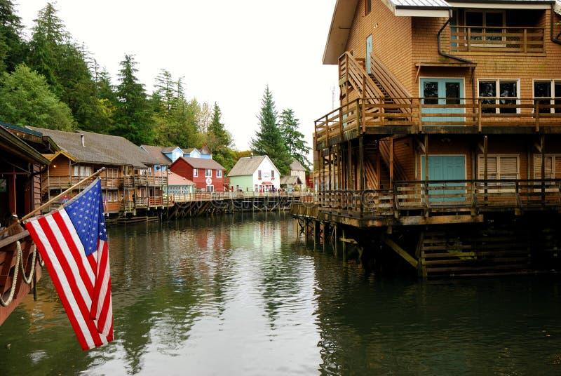 Οδός Ketchikan Αλάσκα κολπίσκου στοκ εικόνα