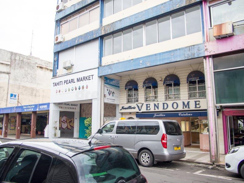 Οδός Papeete, Ταϊτή, γαλλική Πολυνησία στοκ εικόνα