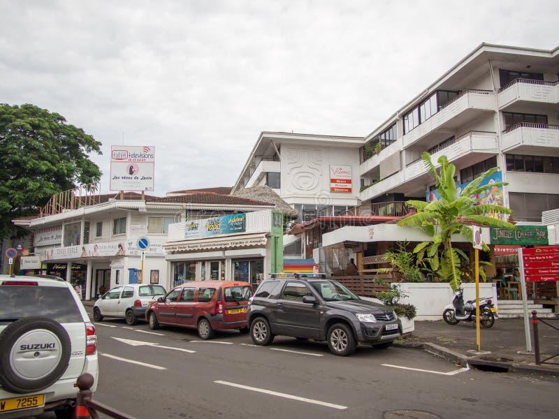 Οδός Papeete, Ταϊτή, γαλλική Πολυνησία στοκ εικόνα με δικαίωμα ελεύθερης χρήσης