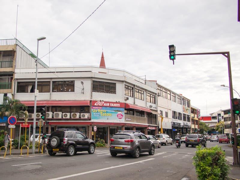 Οδός Papeete, Ταϊτή, γαλλική Πολυνησία στοκ φωτογραφίες με δικαίωμα ελεύθερης χρήσης