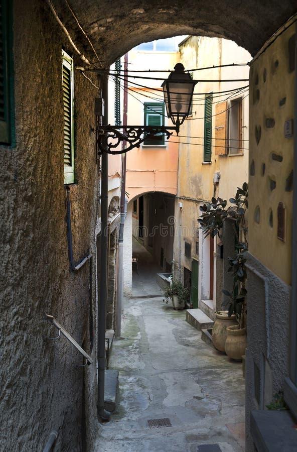 Οδός, Riomaggiore, Cinque Terra, Ιταλία στοκ φωτογραφία με δικαίωμα ελεύθερης χρήσης