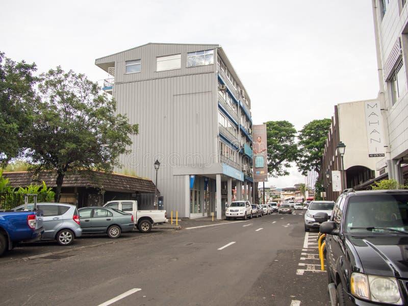 Οδός rue Paul Gauguin, Papeete, Ταϊτή, γαλλική Πολυνησία στοκ εικόνα