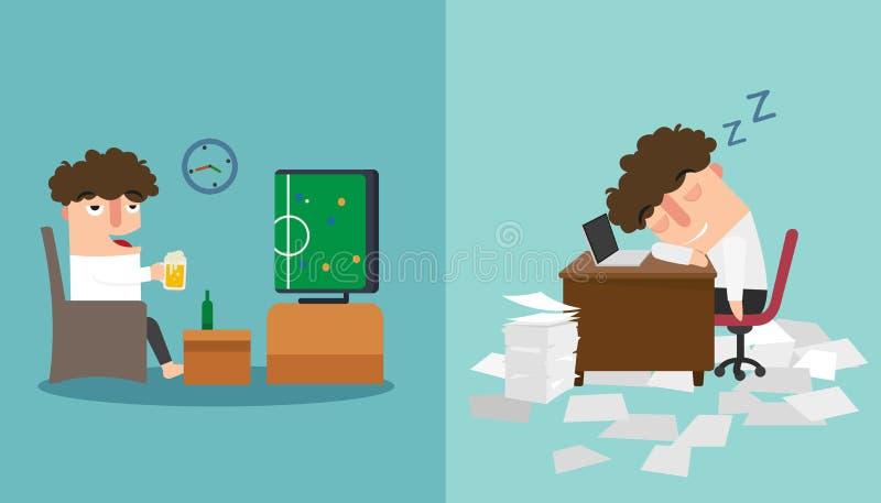 Ο ύπνος τύπων πρόσφατος και που παίρνει ένα NAP κατά τη διάρκεια της απεικόνισης εργασίας απεικόνιση αποθεμάτων