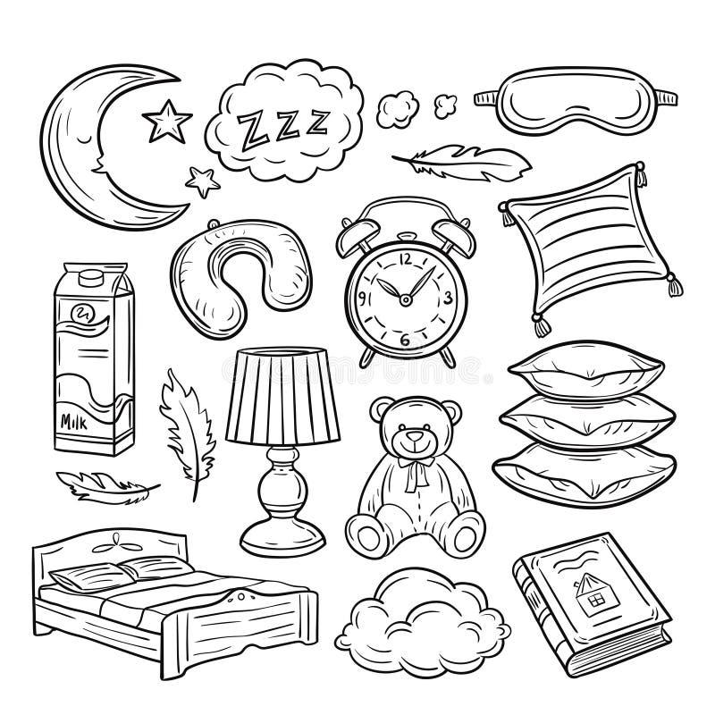 Ο ύπνος doodle θέτει Το μαξιλάρι ύπνου επενδύει με φτερά να ονειρευτεί νύχτας ονείρου zzz Διανυσματική συρμένη χέρι συλλογή ώρας  απεικόνιση αποθεμάτων