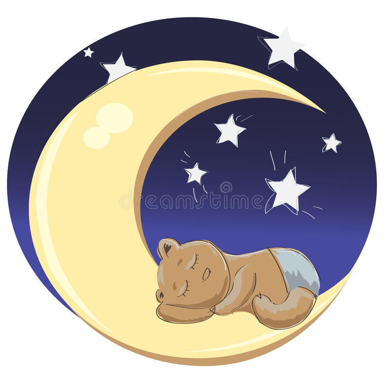 Ο ύπνος teddy αντέχει το αγόρι διανυσματική απεικόνιση