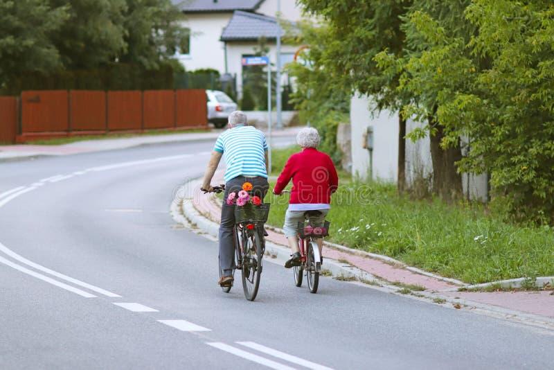 Ο ώριμοι άνδρας και η γυναίκα οδηγούν ένα ποδήλατο μεταξύ των πρασίνων Ένα υγιές και ενεργό μέρος της ζωής Οικολογική μεταφορά γι στοκ φωτογραφίες