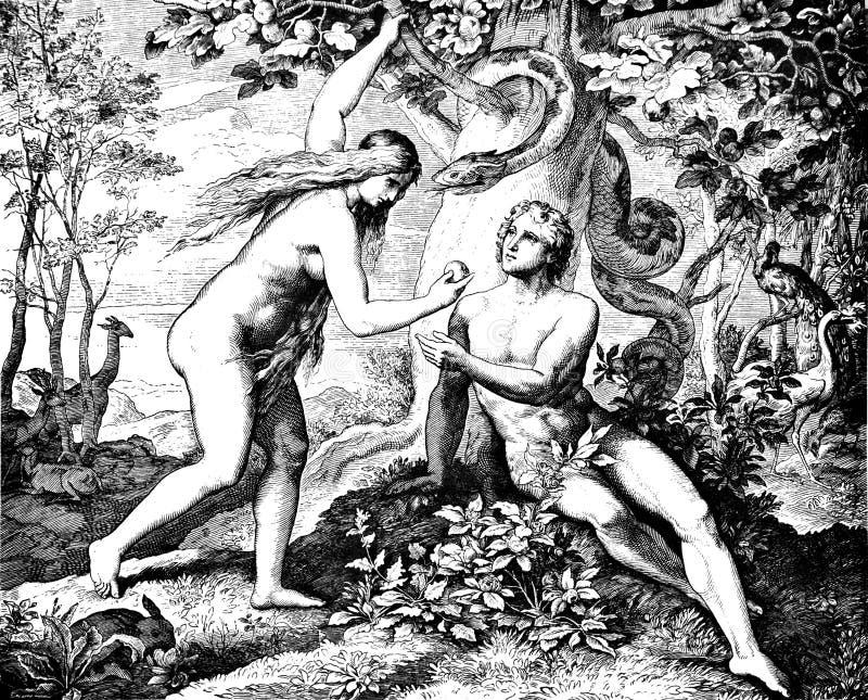 Ο Adam & η παραμονή τρώνε τα απαγορευμένα φρούτα στοκ φωτογραφία με δικαίωμα ελεύθερης χρήσης