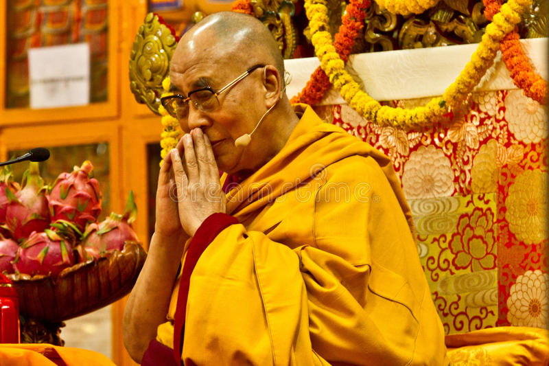 Ο Dalai Lama διδάσκει σε Dharamsala, Ινδία, Septemeber το 2014 Julian_Bound α στοκ εικόνες