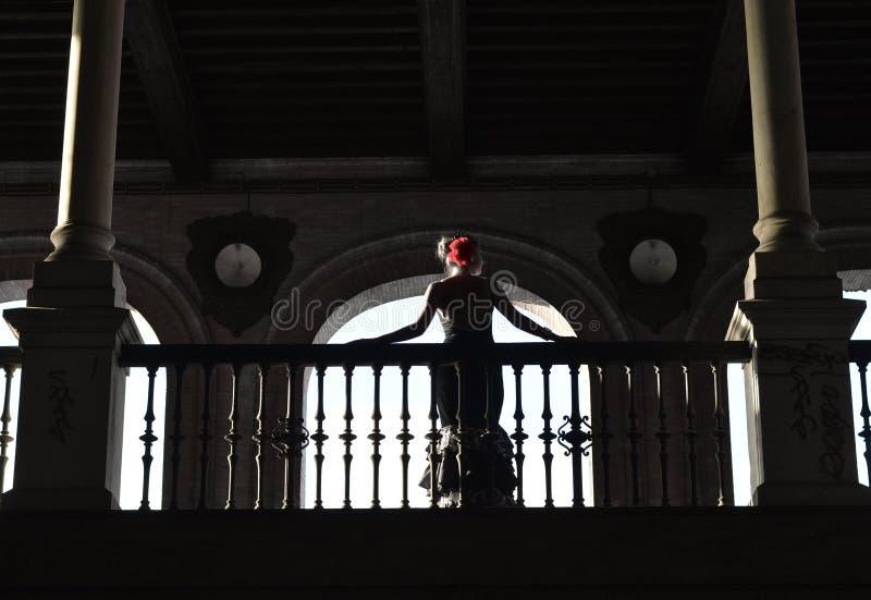 Ο flamenco χορευτής στο backlight στοκ φωτογραφία με δικαίωμα ελεύθερης χρήσης