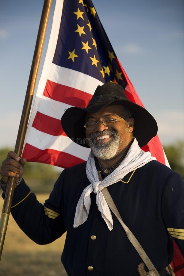 Ο Henry Crawford αναπαριστεί τα καθήκοντα ενός λοχία στρατιωτών Buffalo στοκ εικόνα με δικαίωμα ελεύθερης χρήσης