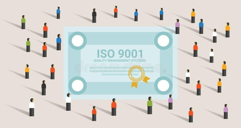 Ο ISO 9001 τυποποιημένη διεθνής συμμόρφωση πιστοποίησης ποιοτικών συστημάτων διαχείρισης επιτυγχάνει μαζί την ηγεσία διανυσματική απεικόνιση