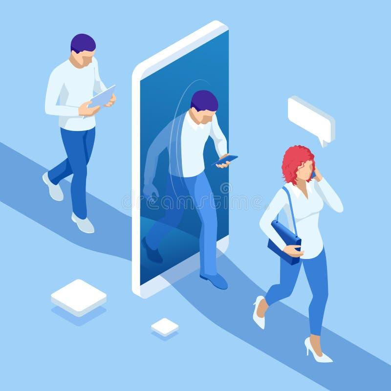 Ο Isometric άνδρας και η γυναίκα περνούν μέσω του πύλη τηλεφώνου στον ιδεατό κόσμο ή το κοινωνικό δίκτυο E απεικόνιση αποθεμάτων