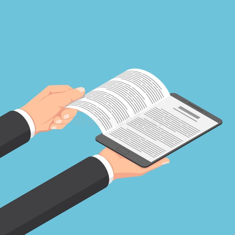 Ο Isometric επιχειρηματίας δίνει το ανοικτό ebook στην ψηφιακή ταμπλέτα απεικόνιση αποθεμάτων